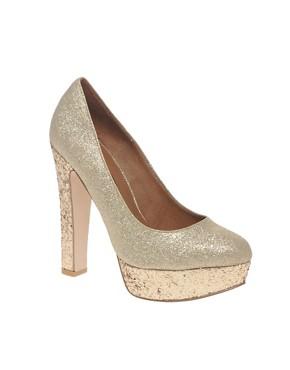 Image 1 ofRiver Island Gold Glitter Platform Heels