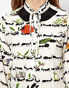 Image 3 of Peter Jensen Ribbon Tie Shirt In Ant Print