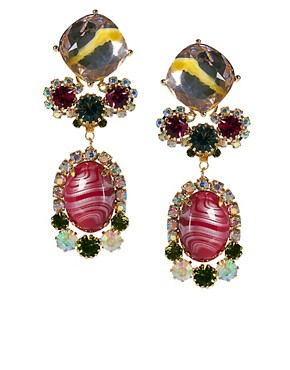 Image 1 of ASOS Marbled Stone Drop Earring