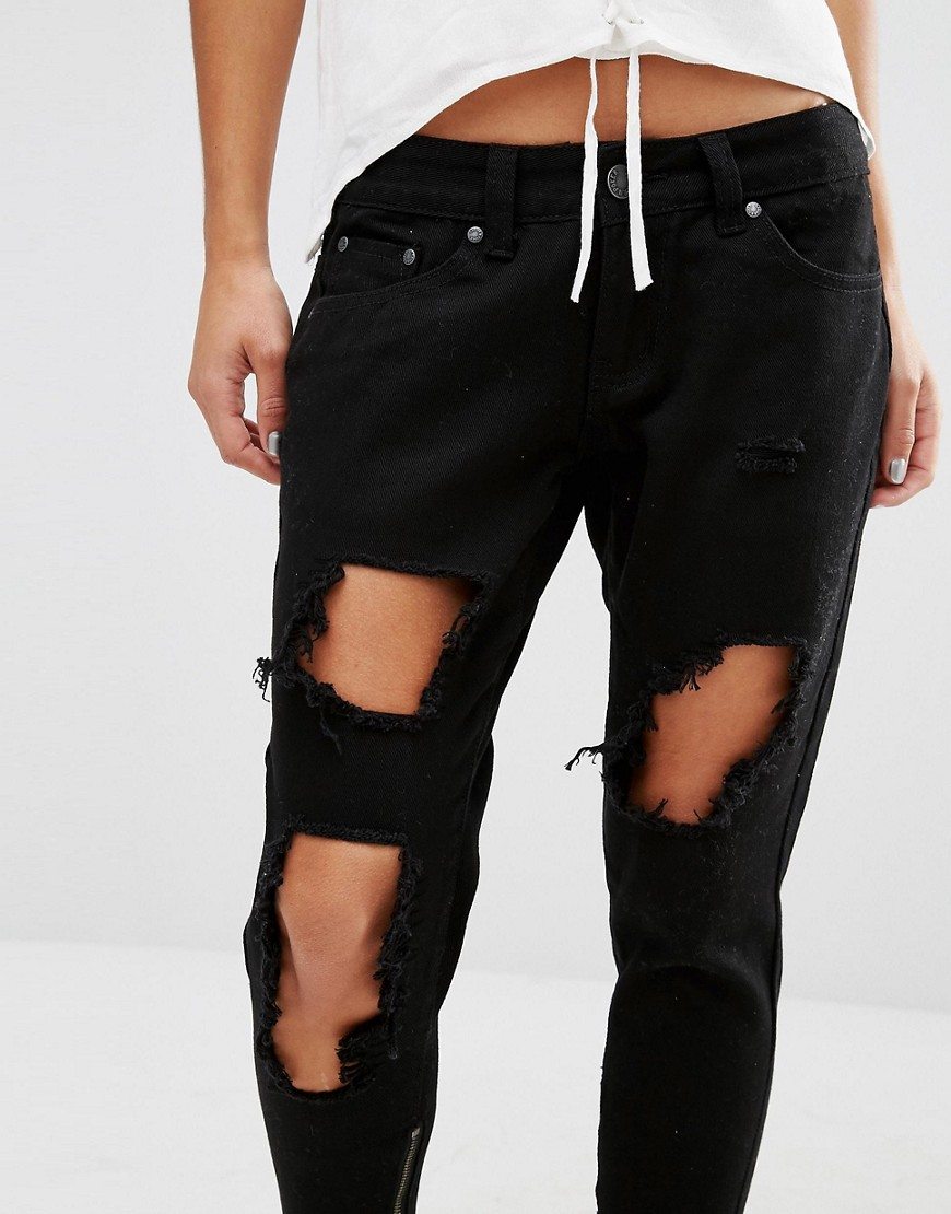 Image 3 ofLiquor & Poker Petite Skinny Jeans With Extreme Distressing Ripped Knees
