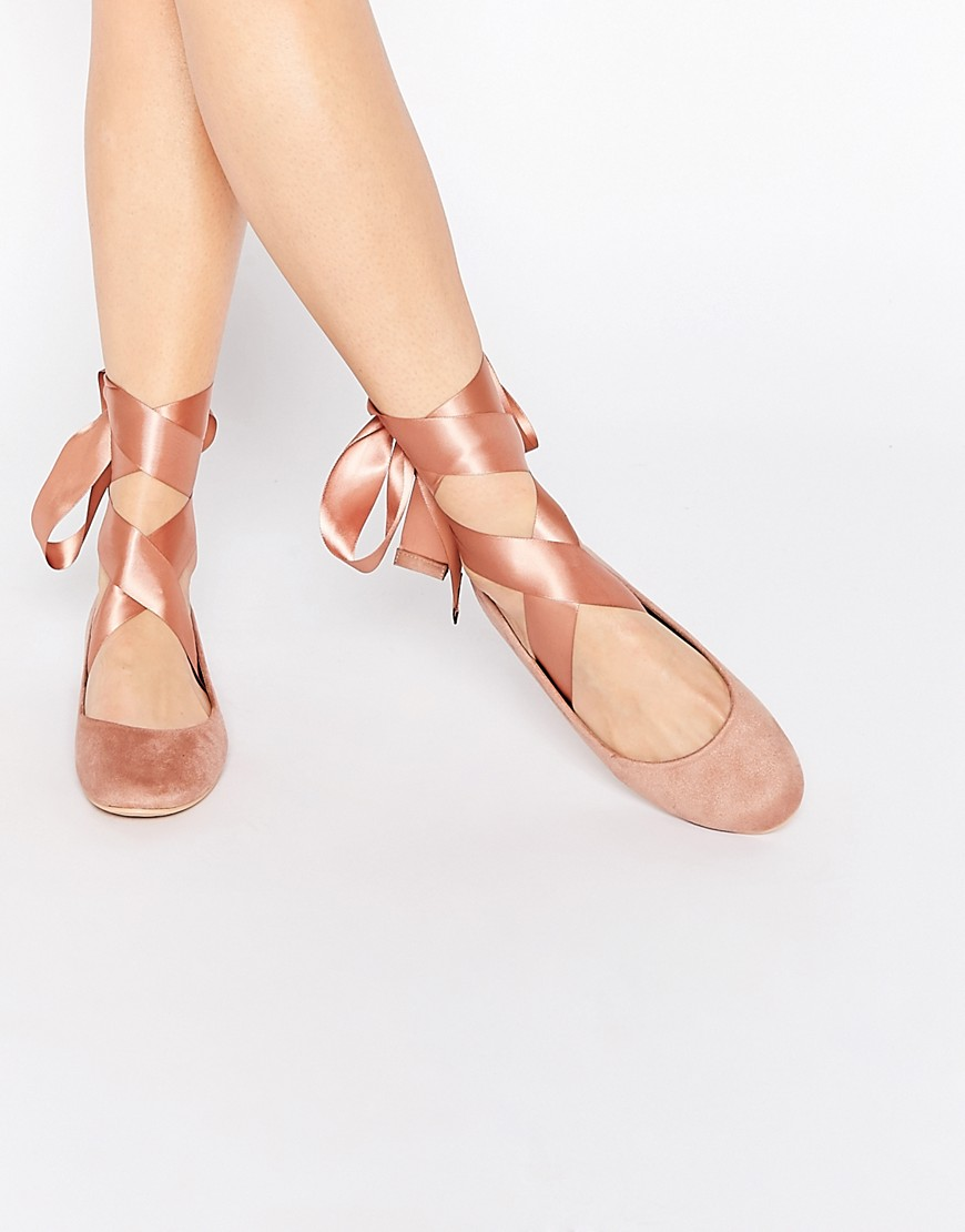Image 1 of Glamorous Nude Suedette Ribbon Tie Ballet Shoes