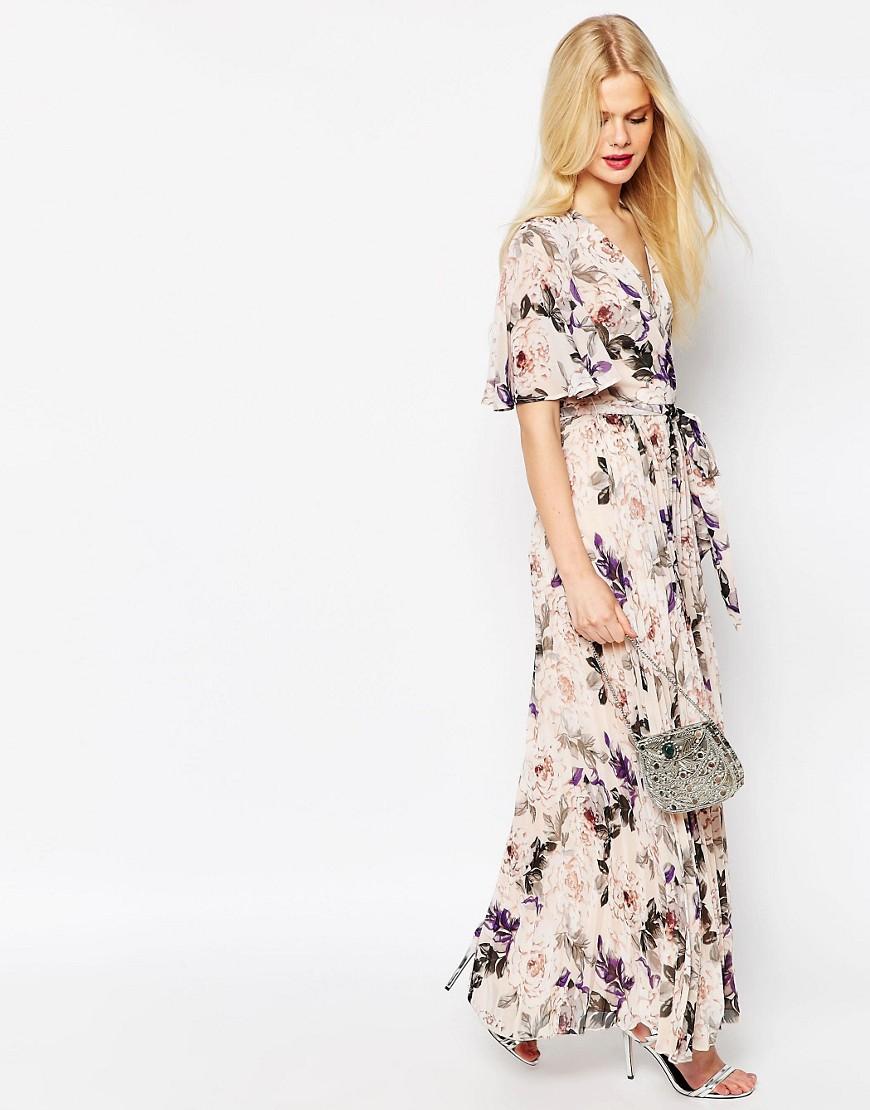 Imagen 4 de Vestido largo con pliegues y estampado floral de ASOS
