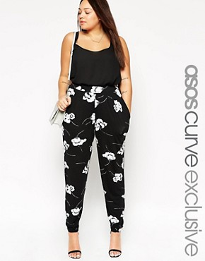 Image 1 of ASOS CURVE Peg Pant In Mono Floral Print