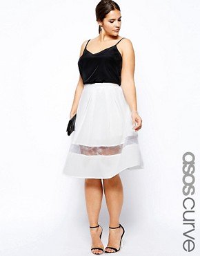 ASOS CURVE Exclusive Full Midi Skirt With Mesh Panel - White