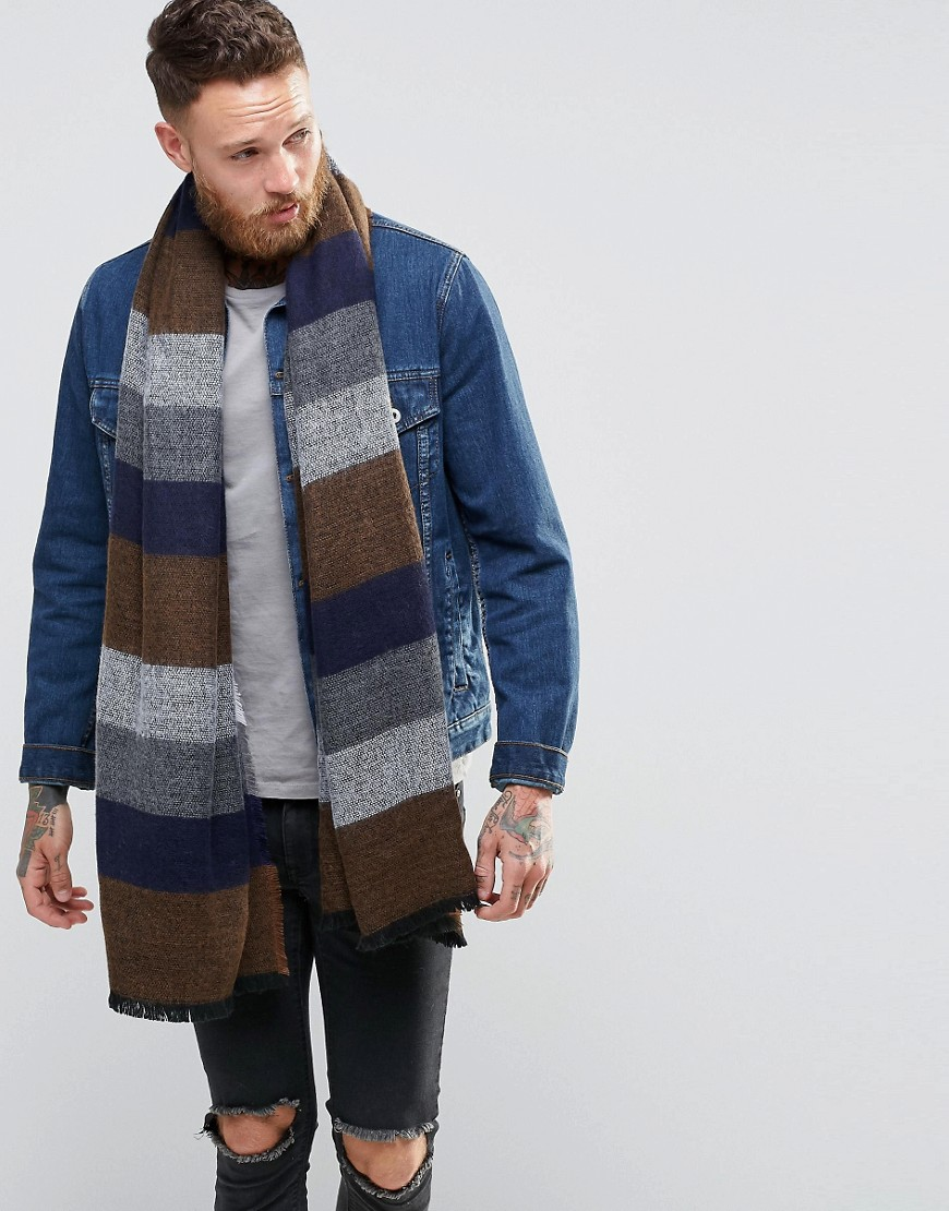 Image 1 of ASOS Striped Blanket Scarf In Navy
