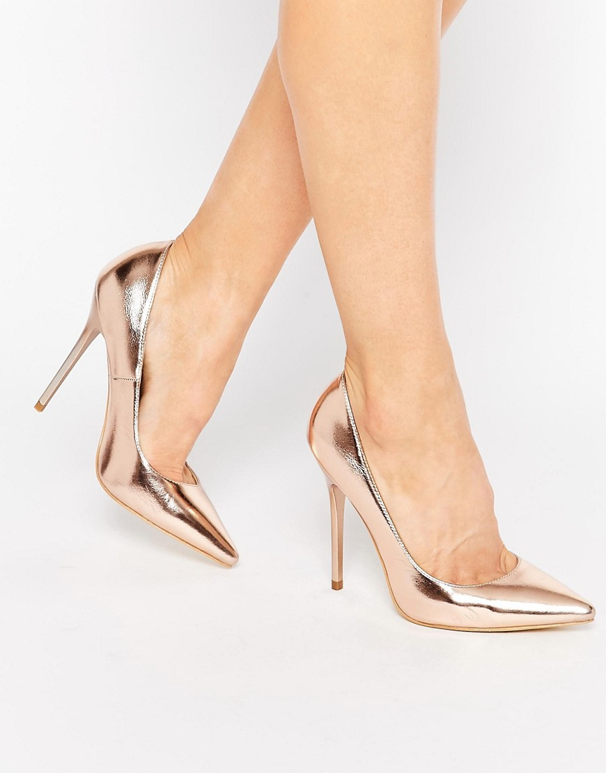 Public Desire Josie Rose Gold Court Shoes