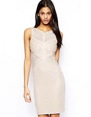 TFNC Body-Conscious Dress With Mesh And Beaded Embellishment