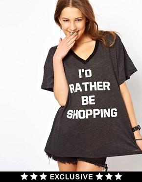 Wildfox - I'd Rather Be Shopping - T-shirt - Exclusivité ASOS