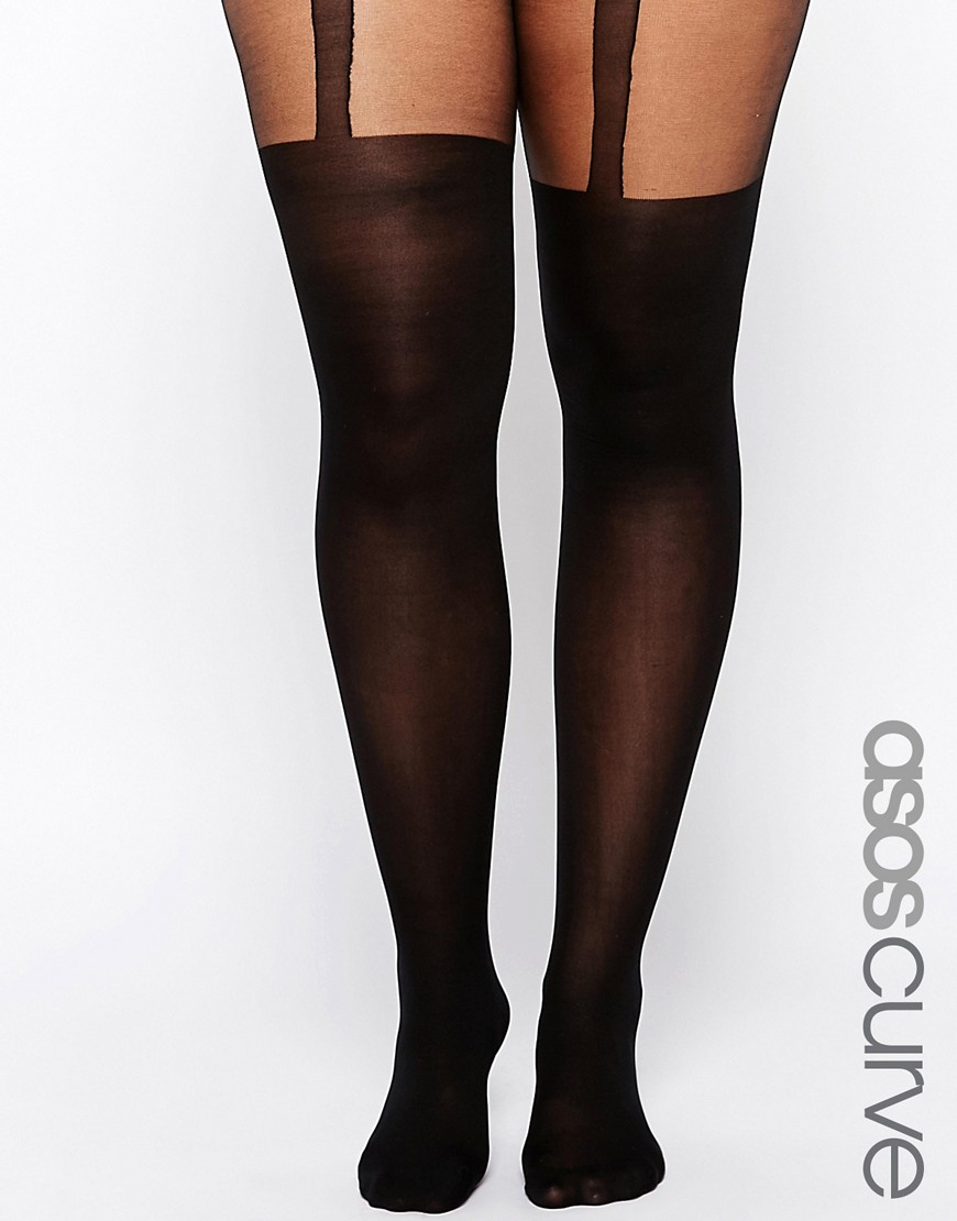 Image 1 of ASOS CURVE Plain Stripe Suspender Tights