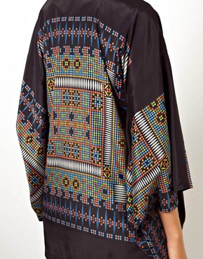 Image 3 ofASOS Kimono With Dramatic Sleeves In Digital Placement Print