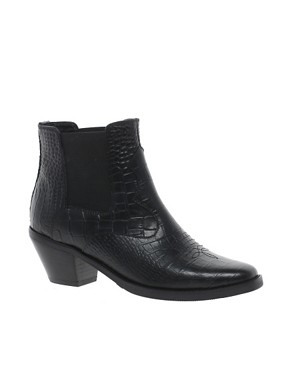 Image 1 of ASOS ARCHER Leather Western Ankle Boots