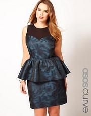 ASOS CURVE Exclusive Peplum Dress In Metallic