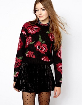 Image 1 of New Look Chunky Floral Intarsia Sweater