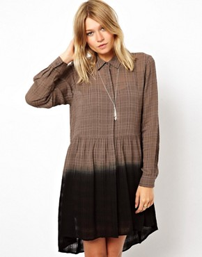 ASOS Shirt Dress In Check With Dip Dye