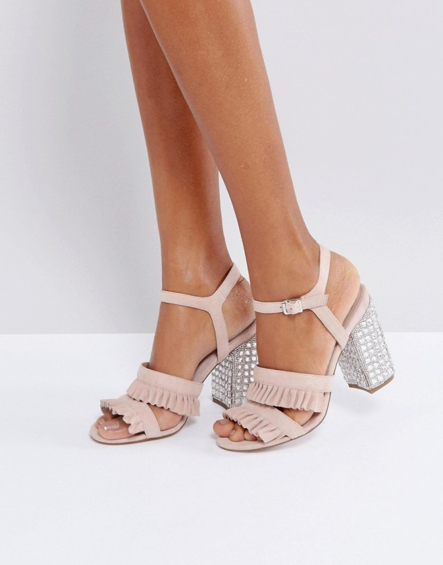 Faith Florence Suede Frill Heeled Sandals, $42