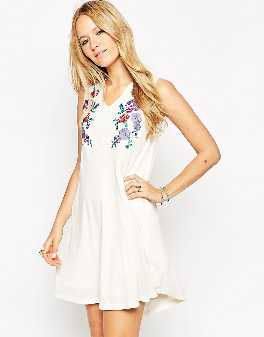 Image 1 of ASOS Swing Dress in Neppi and Colored Embroidery