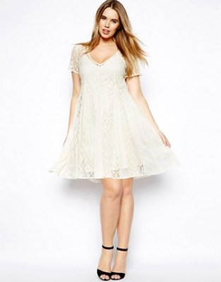 Image 4 of ASOS CURVE Lace Skater Dress With Pleat Detail