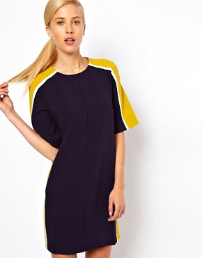 Image 1 of ASOS Shift Dress With Colour Block Sides