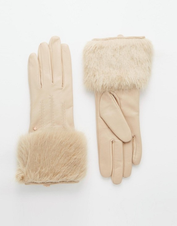 Image 1 ofTed Baker Fur Lined Leather Glove