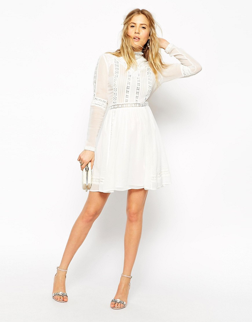 Image 4 of ASOS Premium Crochet Skater Dress with High Neck
