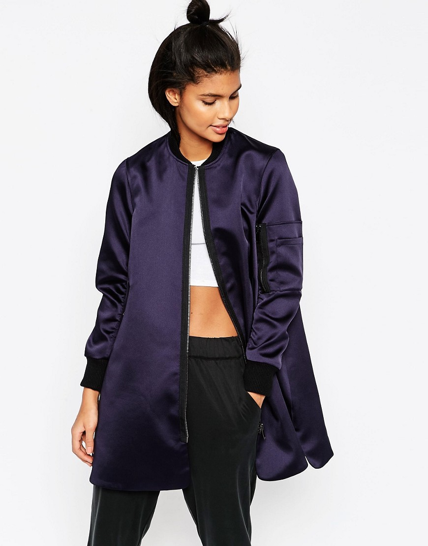Image 1 of ASOS Longline Bomber in Satin Fabric