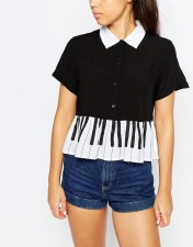 Image 3 ofLazy Oaf Short Sleeved Shirt With Frill Hem In Piano Print