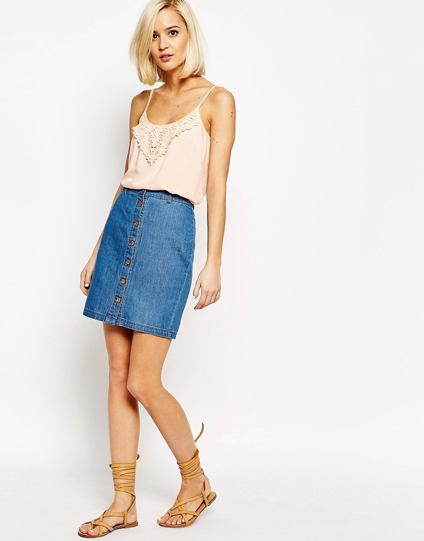 Image 1 ofVero Moda Front Button Up Denim Skirt