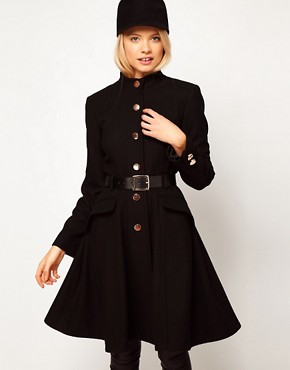 Image 1 ofASOS Belted Button Front Coat With Full Skirt