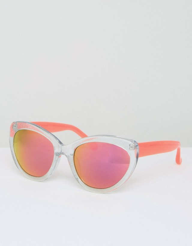 Markus Lupfer Blue Glitter Sunglasses With Neon Pink Colored Lens, $155.0
