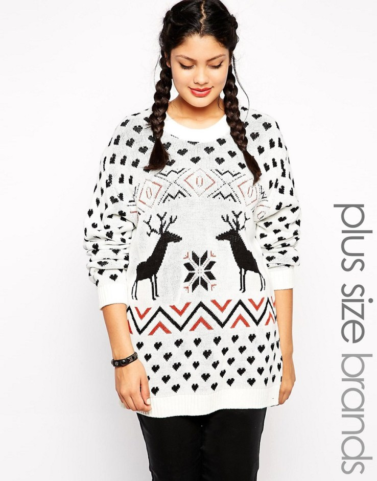Club L Plus Size Fair Isle Holidays Sweater