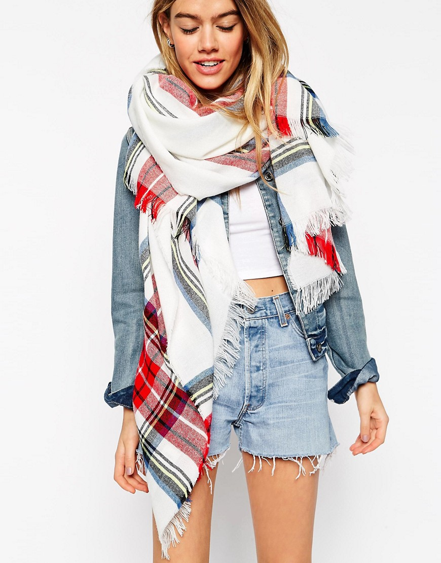 Image 1 of ASOS Lightweight Oversized Scarf In White Plaid Check