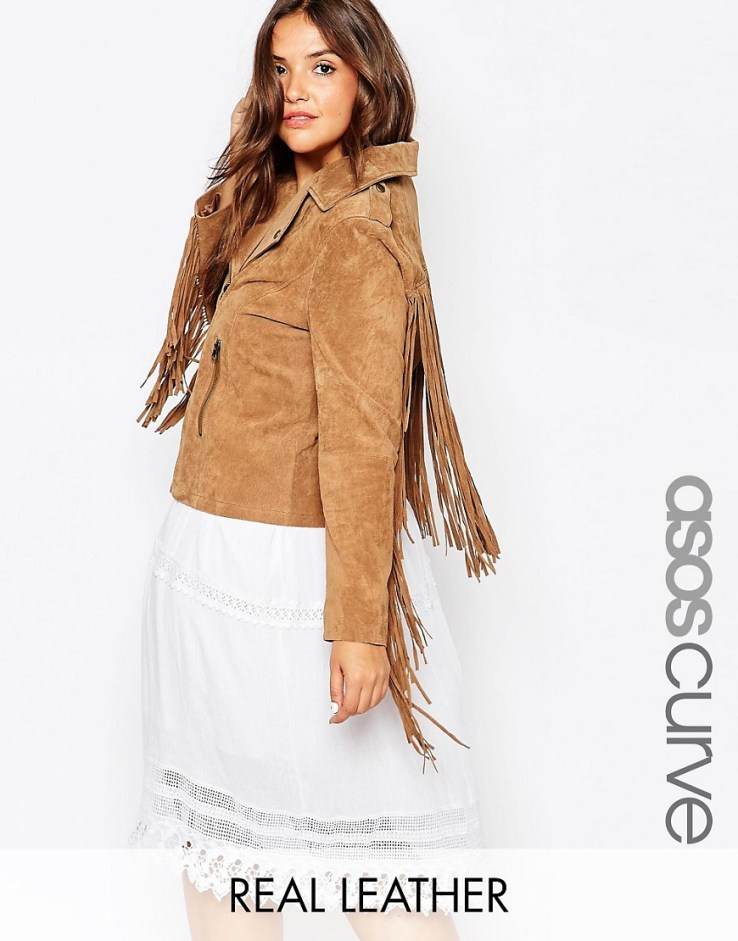 ASOS CURVE Suede Biker Jacket with Fringing
