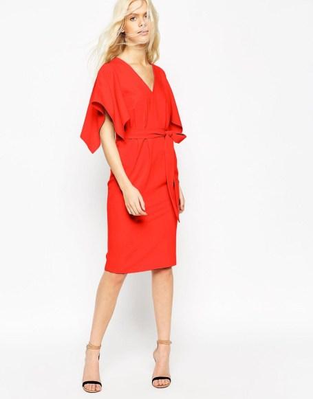 ASOS Angel Kimono Sleeve Belted Midi Dress