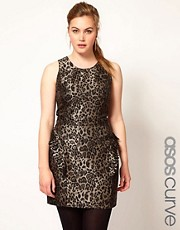 ASOS CURVE Exclusive Ruffle Peplum Dress In Leopard