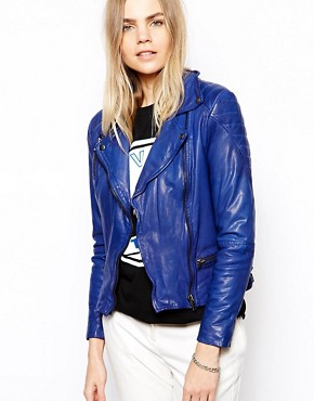 Muubaa Ollon Quilted Leather Jacket in Cobalt