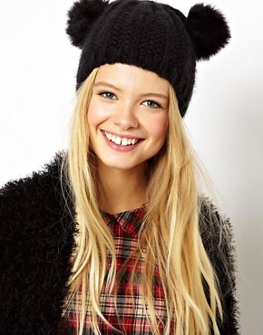 Image 1 of ASOS Faux Fur Pom Ears Beanie