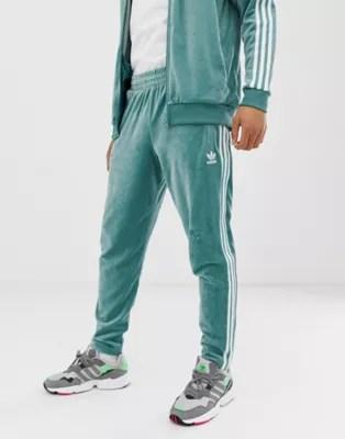 Adidas Originals Velour Track Joggers Green Asos