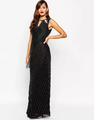 ASOS DESIGN   ASOS RED CARPET Delicate Beaded Keyhole All Over         Beaded Keyhole All Over Embellished Maxi Dress  image AlternateText