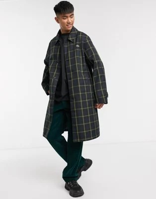 lacoste l ve trench coat a carreaux ecossais vert