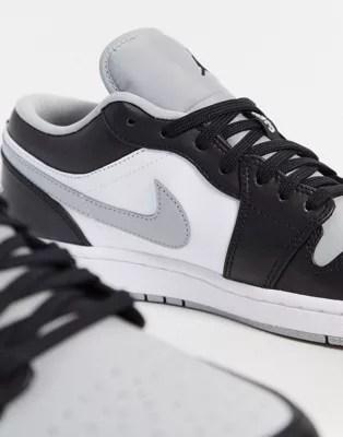 nike air jordan 1 niedrige sneaker in hellem rauchgrau schwarz