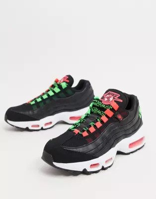 nike air max 95 trainers in black and green