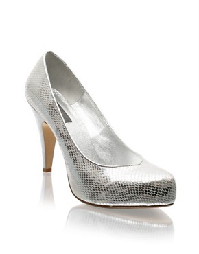 ASOS Leather Metallic Snake Shoes  in the style of Victoria Beckham NOW £22.00