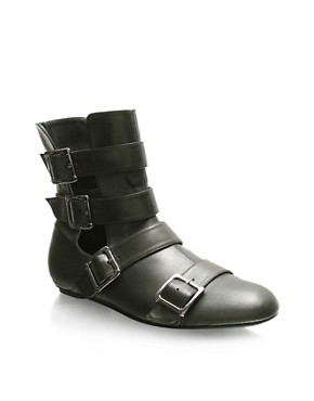 ASOS Buckle Open Side Flat Boots