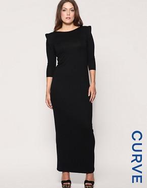 ASOS CURVE Shoulder Pad Jersey Maxi Dress