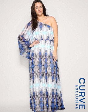 ASOS CURVE Exclusive Printed One Shoulder Maxi Dress