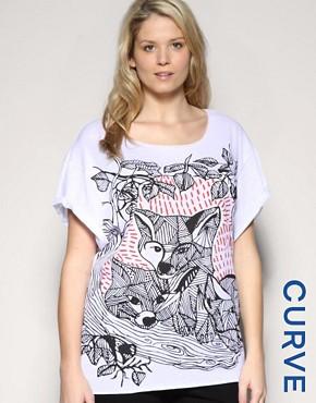 ASOS CURVE Fox Print Tee