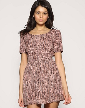 ASOS Pebble Printed Fitted Waist Dress
