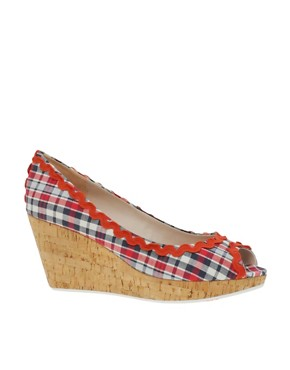 Killah Cinzia Gingham Peep Toe Wedge