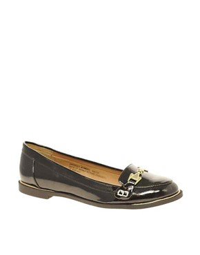 Image 1 ofRiver Island Patent Buckle Loafers