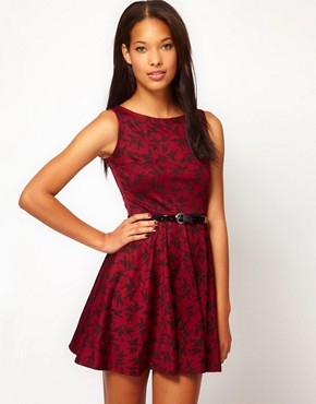 Image 1 of Club L Bird Print Skater Dress